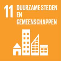 Pictogram van SDG duurzame steden en gemeenschappen